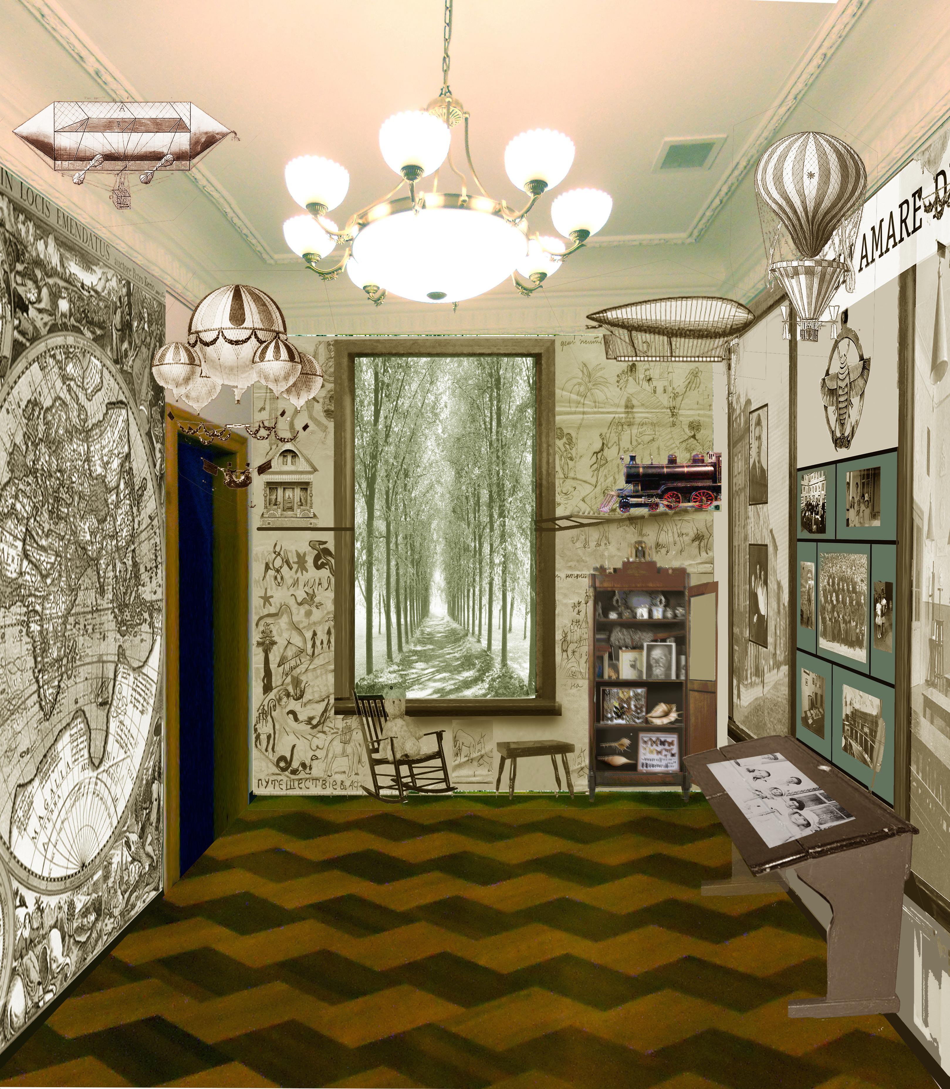 Дизайн проектирование: эскиз раздела «В начале великого пути» - детские и школьные годы Юрия и Святослава Рерихов.